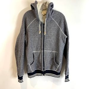 Band Of Outsiders Zip Front Hoodie Navy Melange